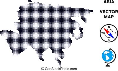 mappa, pixelated, asia