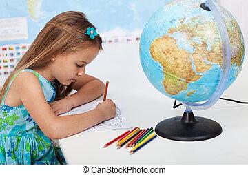 mappa, poco, coloritura, mondo, ragazza, classe, geografia