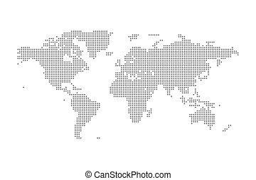 mappa, politico, grigio, illustrazione, isolato, vettore, mondo