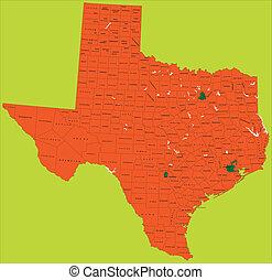 mappa, politico, texas