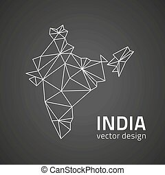 mappa, polygonal, nero, prospettiva, india, contorno