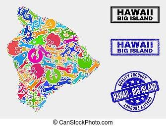 mappa, prodotto, watermark, collage, grande, hawai, attrezzi, isola, qualità