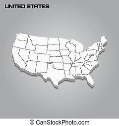 mappa, profili di fodera, regioni, 3d
