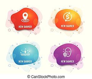 mappa, puntatore, vettore, pelle, segno., verificato, icons., valuta, pulito, rate., faccia, usd, scambio, posizione, cosmetica