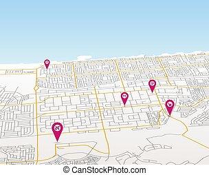 mappa, puntatori, vista, città, vettore, prospettiva