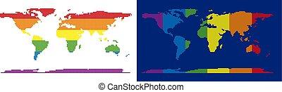 mappa, punteggiato, spettro, pixel, mondo, continente