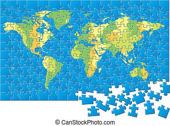 mappa, puzzle, mondo