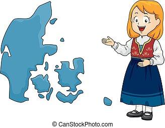 mappa, ragazza, capretto, illustrazione, danimarca