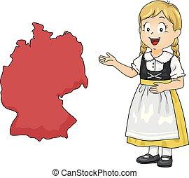 mappa, ragazza, germania, illustrazione, capretto