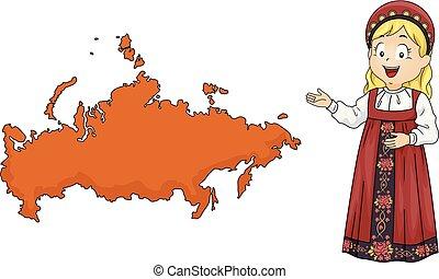 mappa, ragazza, russia, illustrazione, capretto