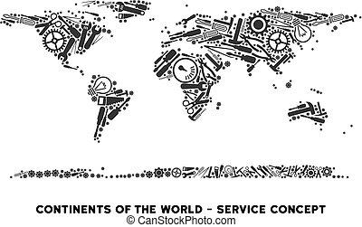 mappa, riparazione, continente, mondo, attrezzi, composizione