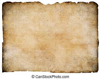 mappa, ritaglio, vecchio, isolated., tesoro, vuoto, included., percorso, pergamena