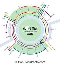 mappa, road., trasporto, fondo, metro, stazioni, sagoma, sotterraneo, piano, colorito, città, vector.