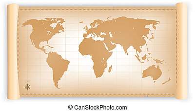 mappa, rotolo, pergamena, mondo, vendemmia