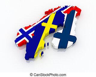 mappa, scandinavia.