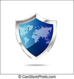 mappa, scudo, metallo, protezione, fondo, mondo, bianco