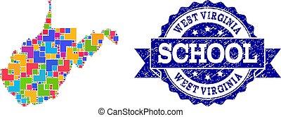 mappa, scuola, afflizione, virginia ovest, stato, sigillo, composizione, mosaico