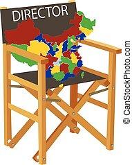 mappa, sedia, piegatura, legno, geografico, porcellana