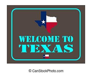 mappa, segno, texas, benvenuto, 10, bandiera, eps, illustrazione, vettore