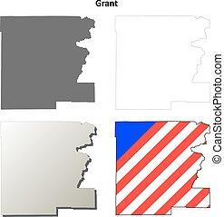 mappa, set, contorno, concessione, contea, oregon