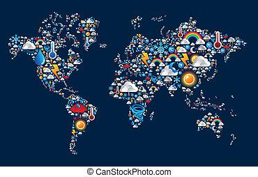 mappa, set, icone, forma, tempo, mondo