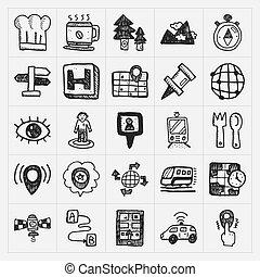 mappa, set, icone, scarabocchiare, posizione, gps