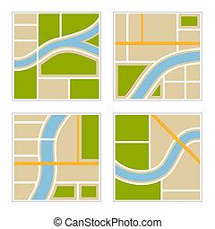 mappa, set, illustration., città, astratto, vettore