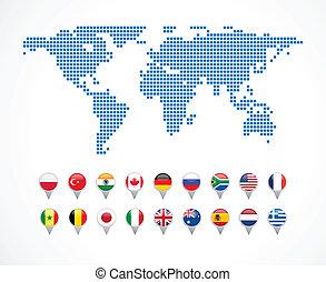 mappa, set, navigazione, mondo, icone