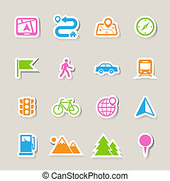 mappa, set, posizione, icone
