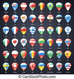 mappa, set, puntatori, stati, vetro, bandiere, mondo
