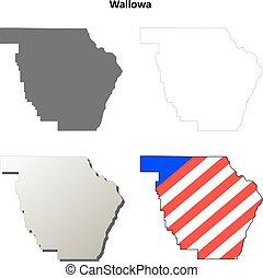 mappa, set, wallowa, contorno, contea, oregon