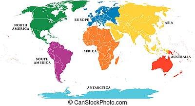 mappa, sette, profili di fodera, continenti