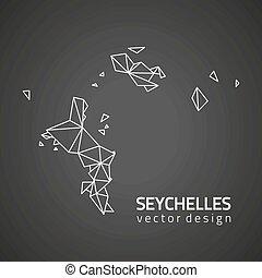 mappa, seychelles, vettore, nero, prospettiva, contorno