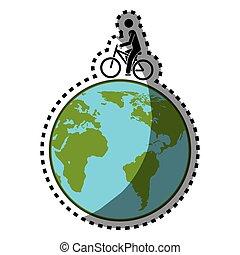 mappa, silhouette, colorare, adesivo, eco, bicicletta, mondo, uomo