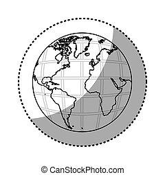 mappa, silhouette, continenti, adesivo, mondo, terra, 3d