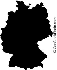 mappa, silhouette, paese, illustrazione, vettore, sfondo nero, germania, profili di fodera, bianco
