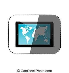 mappa, silhouette, tavoletta, colorare, adesivo, carta da parati, posizione, mondo, orizzontale