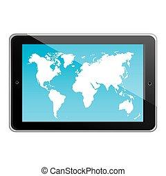 mappa, silhouette, tavoletta, colorare, carta da parati, posizione, mondo, orizzontale