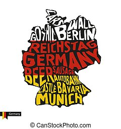 mappa, silhouette, tipografia, bandiera, germania, colors., nero
