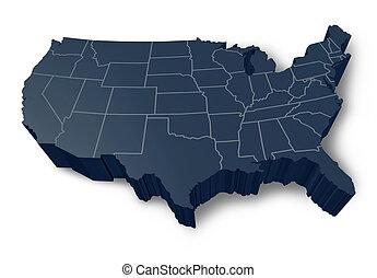 mappa, simbolo, 3d, americano, isolato