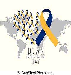 mappa, sindrome, campagna, giù, internazionale, mondo, giorno