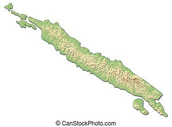 mappa sollievo, -, isabel, (solomon, islands), -, 3d-rendering