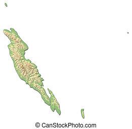 mappa sollievo, -, malaita, (solomon, islands), -, 3d-rendering