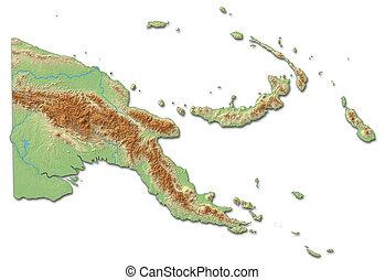 mappa sollievo, -, papua nuova guinea, -, 3d-rendering