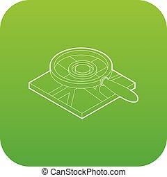 mappa, sopra, vetro, vettore, verde, ingrandendo, icona