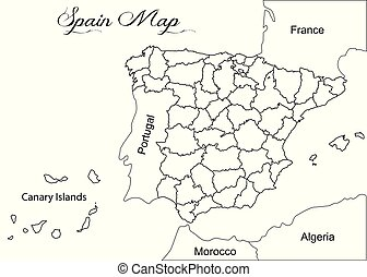 Spagna Ibiza Cartina Geografica.Mappa Spagna Geografico Illustrazione Mappa Cartografia Illustrazione Tema Spain Geografia Canstock