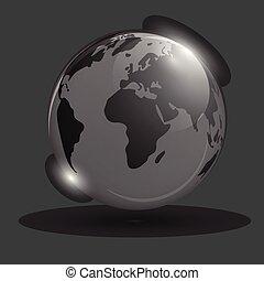 mappa, spazio, globo, isolato, object., fondo., ardendo, nero, mondo, scope., strisciante