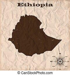 mappa, spiegazzato, vecchio, paper., illustrazione, etiopia...