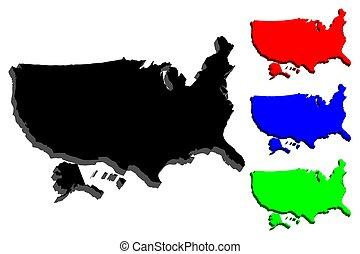 mappa, stati uniti, 3d