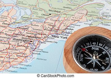 mappa, stati uniti, destinazione corsa, york, bussola, nuovo